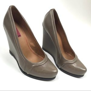 5/48 Size 38.5 Melo Leather High Wedge Shoes Heels